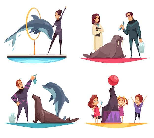 Colección de escenas del delfinario con animales