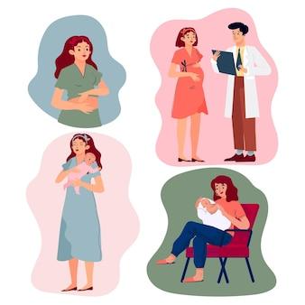 Colección de escenas de embarazo y maternidad.