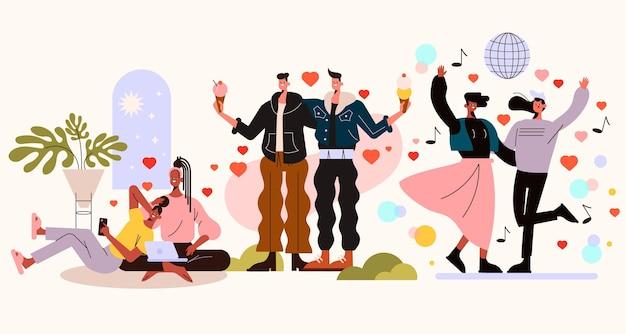 Colección de escenas ilustradas de pareja de lesbianas.