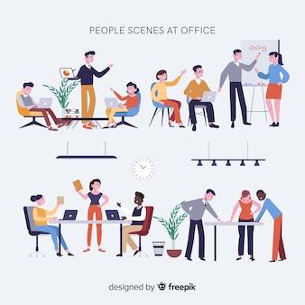 Colección escenas reuniones en la oficina