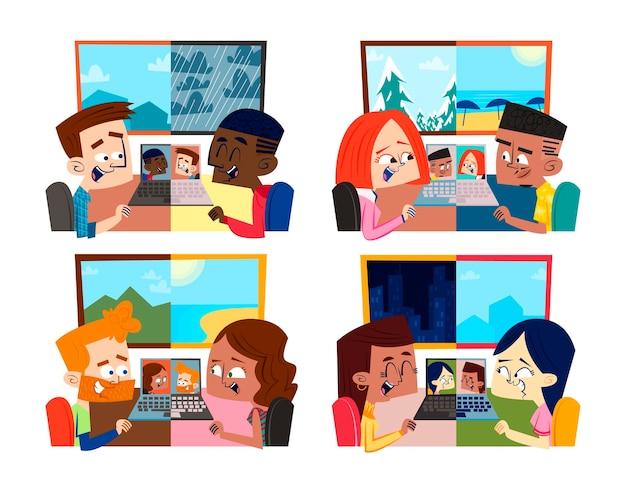 Colección de escenas de videoconferencia de amigos