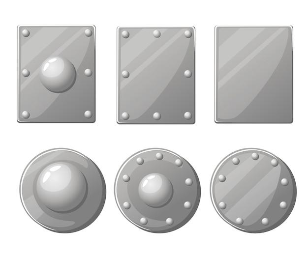 Colección de escudos. broquel y escudo medieval de metal. ilustración sobre fondo blanco