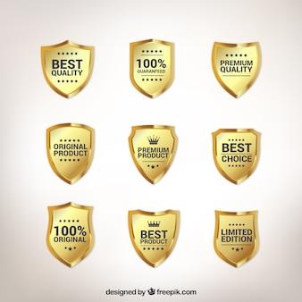 Colección de escudos dorados premium