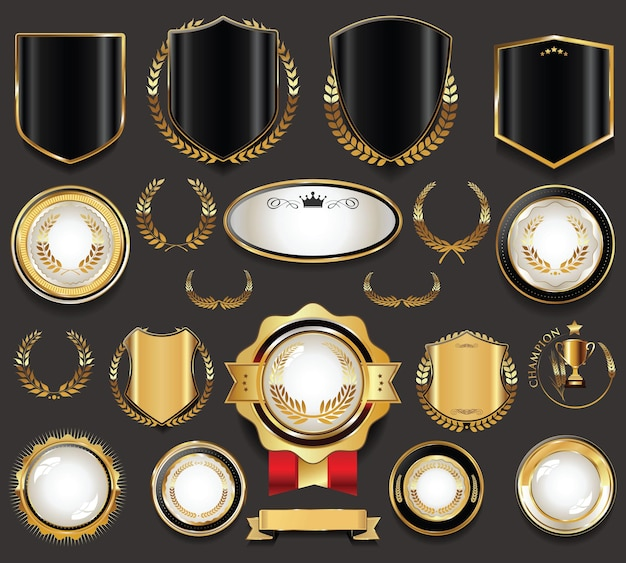 Colección de escudos y etiquetas de insignia dorada vintage retro