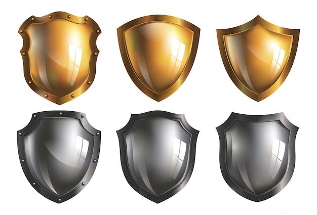 Colección de escudos de hierro y oro.