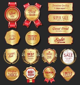 Colección de escudos y insignia de corona de laurel dorado retro vintage