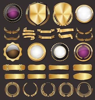 Colección de escudos, insignias y etiquetas de estilo retro