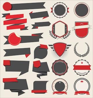 Colección de escudos planos, insignias y etiquetas de estilo retro