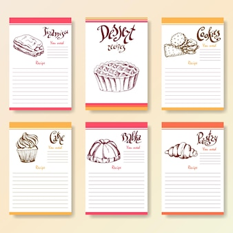 Colección de espacios en blanco de recetas. objetos de postre con letras de amanecer a mano. ilustración de alimentos vectoriales