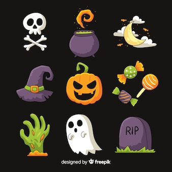 Colección espeluznante de elementos de halloween