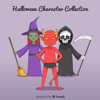 Colección espeluznante de personajes de halloween dibujados a mano
