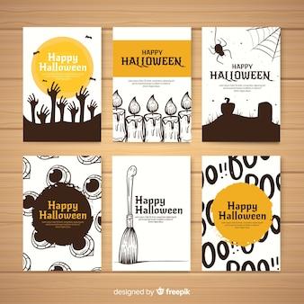 Colección espeluznante de tarjetas de halloween dibujadas a mano