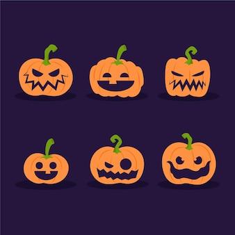 Colección de espeluznantes calabazas de halloween