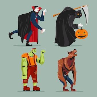 Colección de espeluznantes personajes de halloween