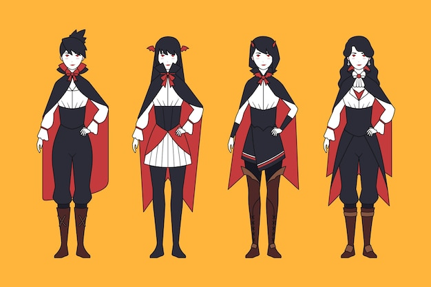 Colección de espeluznantes personajes de vampiros de halloween