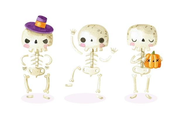 Colección de esqueletos de halloween en acuarela