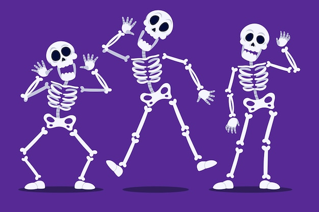 Colección de esqueletos de halloween planos dibujados a mano