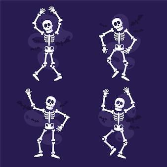 Colección de esqueletos planos dibujados a mano