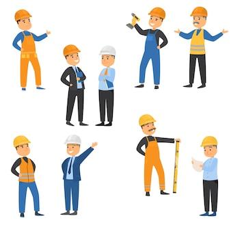 Colección establece trabajadores masculinos de ingenieros y otras profesiones técnicas. constructores vestidos con chalecos protectores y concepto de cascos.