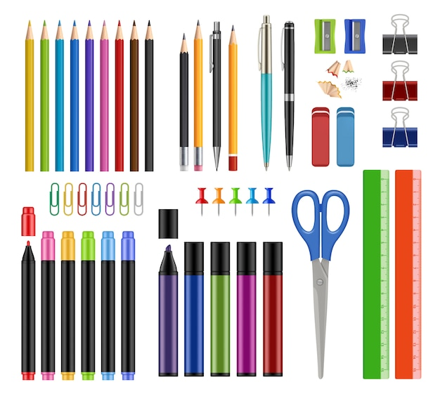 Colección estacionaria. los lápices afilan las herramientas de educación escolar de goma o los artículos de suministros de oficina realistas s aislados