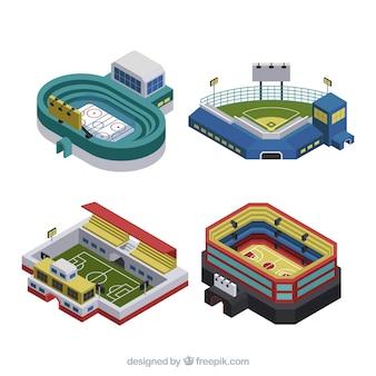 Colección de estadios en estilo isométrico