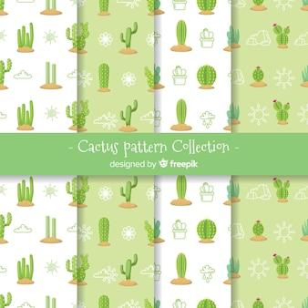 Colección de estampados de cactus en diseño plano