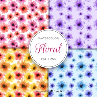 Colección de estampados de flores en acuarela