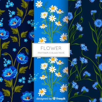 Colección de estampados de flores en diseño plano