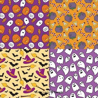 Colección de estampados de halloween dibujados a mano
