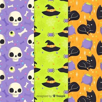 Colección de estampados de halloween en diseño plano