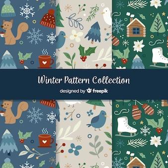 Colección de estampados de invierno dibujados a mano