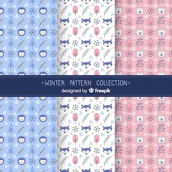 Colección de estampados de invierno en diseño plano
