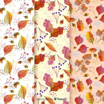 Colección de estampados de otoño en acuarela con hojas