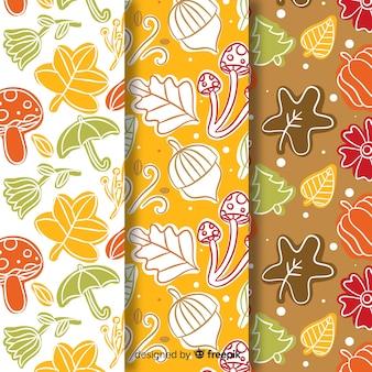 Colección de estampados de otoño dibujado a mano