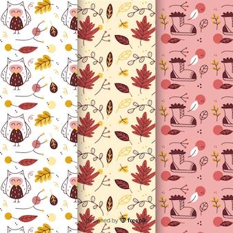 Colección de estampados de otoño dibujados a mano