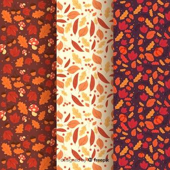Colección de estampados de otoño en diseño plano