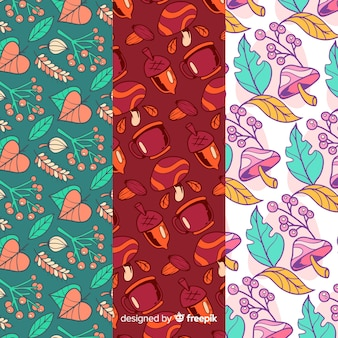 Colección de estampados de otoño con hojas dibujado a mano