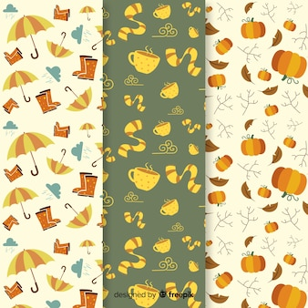 Colección de estampados de otoño con hojas en diseño plano