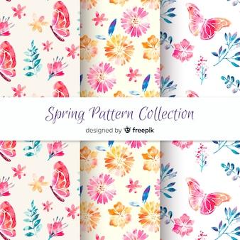Colección de estampados de primavera en acuarela