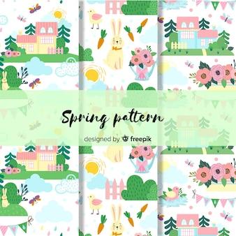 Colección de estampados de primavera dibujados a mano