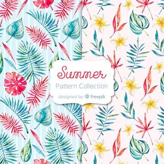 Colección de estampados de verano en acuarela