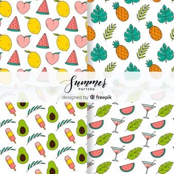 Colección de estampados de verano dibujado a mano
