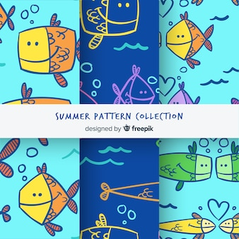 Colección de estampados de verano dibujados a mano