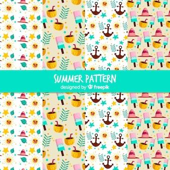 Colección de estampados de verano en diseño plano