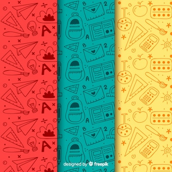 Colección de estampados de la vuelta al cole dibujado a mano