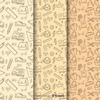 Colección de estampados de la vuelta al cole dibujados a mano