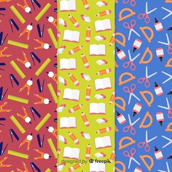 Colección de estampados de la vuelta al cole en diseño plano