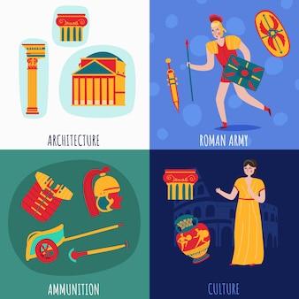 Colección de estandartes del antiguo imperio de roma