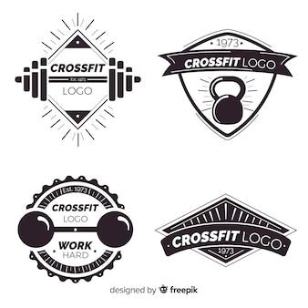 Colección de estilo crossfit logo plano.