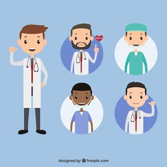 Colección con estilo de doctores jóvenes